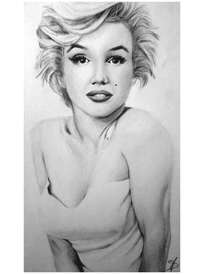Marilyn monroe pencil sketch by drawnbyabbie
