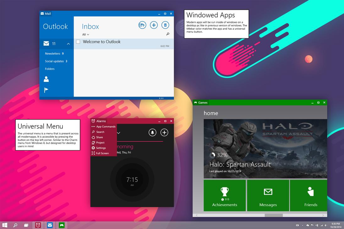 Windows 10 desktop concept by link6155