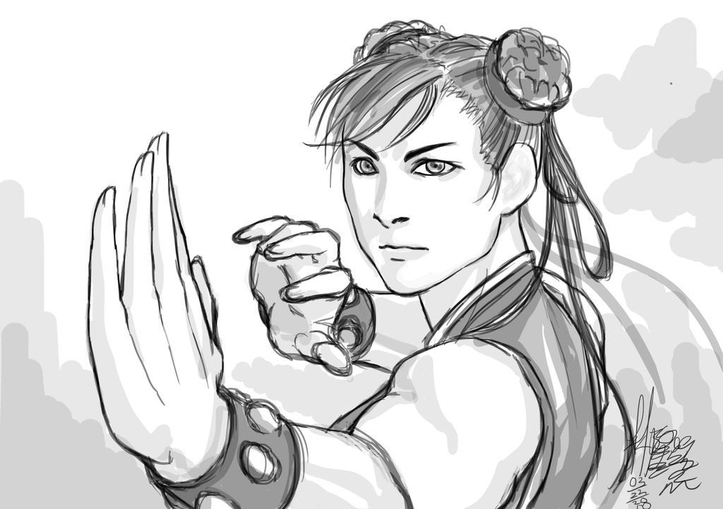 Chun Li Sketch by CrazyBluePsychopath