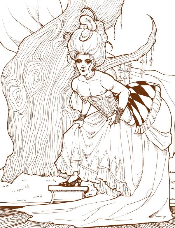 1700s Drag Lineart by aubergineverde