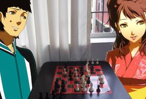 Adriano Ramos and Rise Kujilkawa Playing Chess