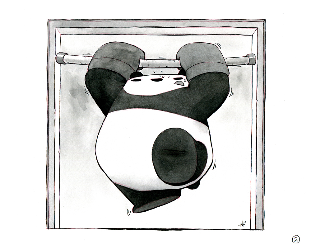 Inktober, Day 2:Pull-Up Panda