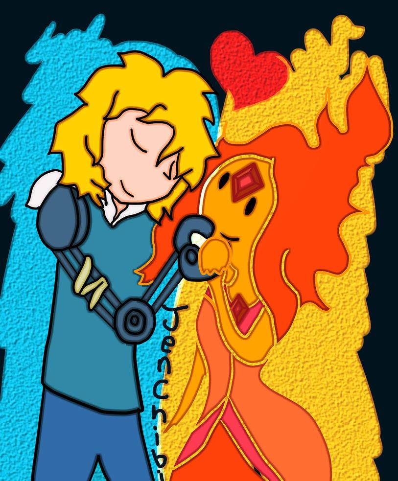 Finn the human and flame princess by JenChibi