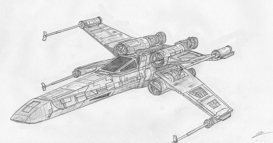 X Wing Line Drawing : X wing by vuzi on deviantart