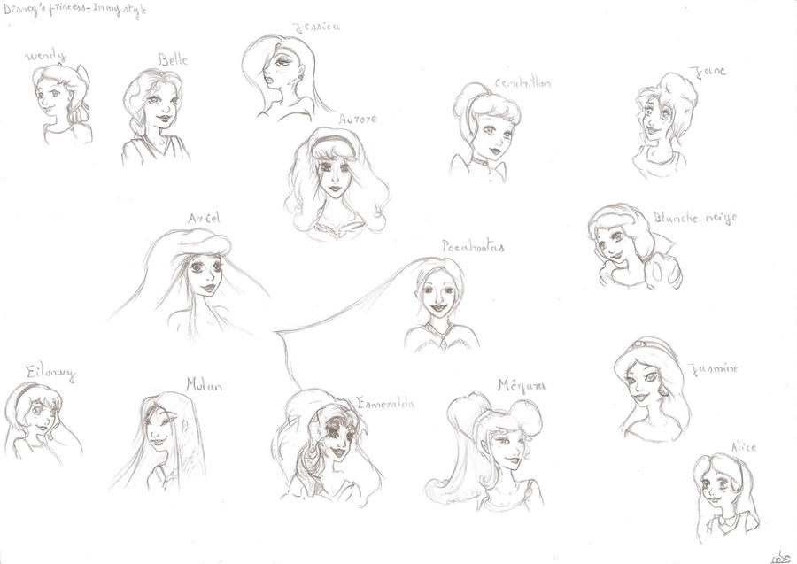 how to draw in disney princess style
