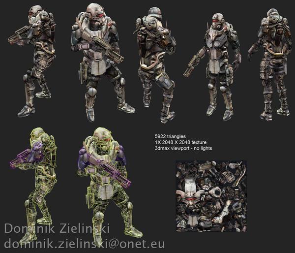 Futuristic soldier - wires
