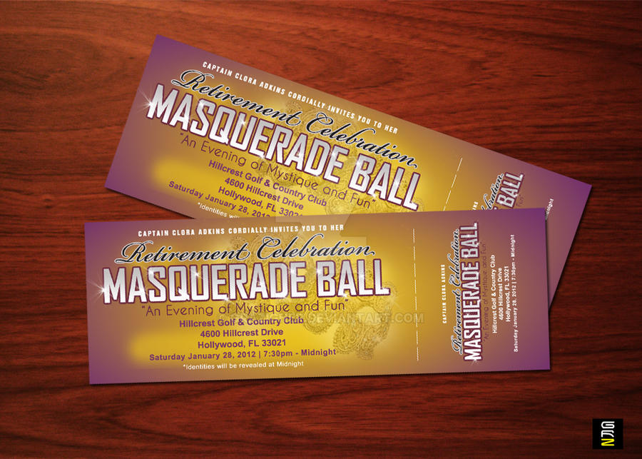 Retirement Party And Masquerade Ball Tickets By Grazigner
