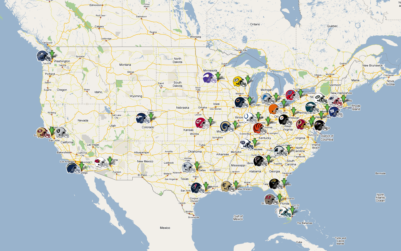 Nfl Football Team Map Pictures To Pin On Pinterest PinsDaddy - Us map nfl teams