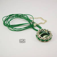 Green and White - pendant by Zsamo