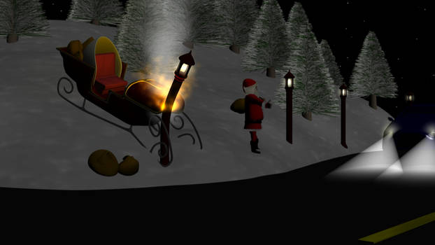 Santa's thumbin' to town