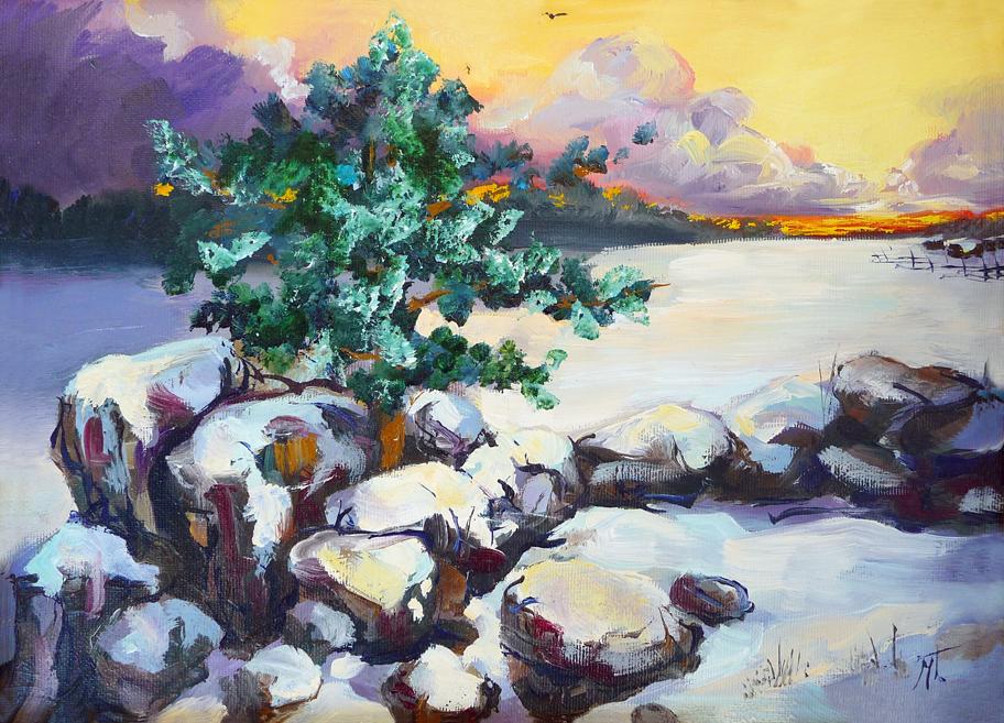 Winter evening by Mishelangello