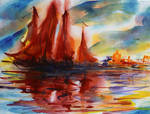 Fire red sails in East fairy tale