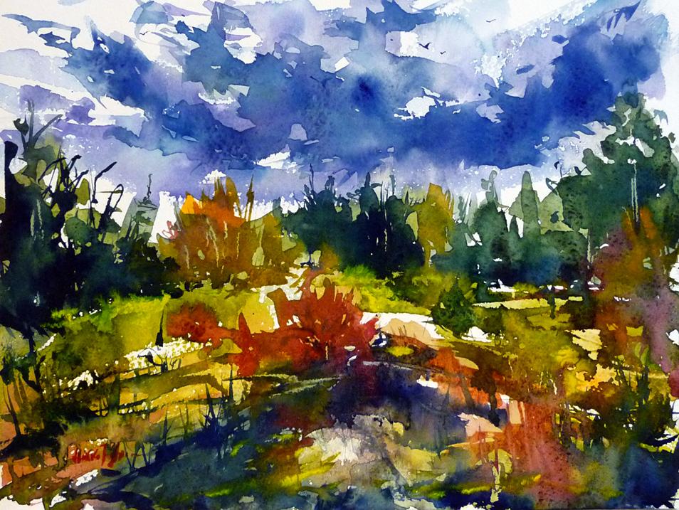 Rainy summer landscape by Mishelangello