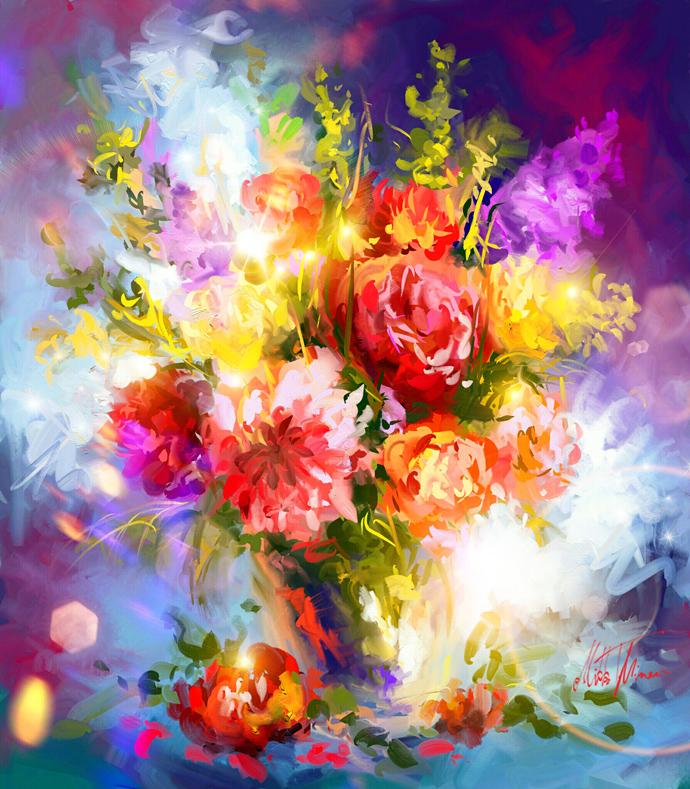Spring flowers in vase by Mishelangello