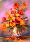 Red flowers in vase