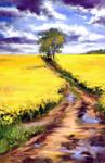 Road in Golden field