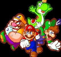 Super Mario x4 by JamesmanTheRegenold