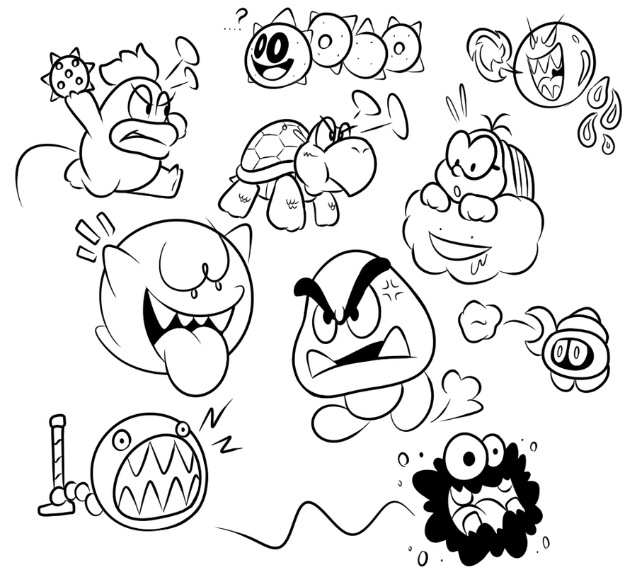 Enemy Drawing Late Night Mario Enemies By