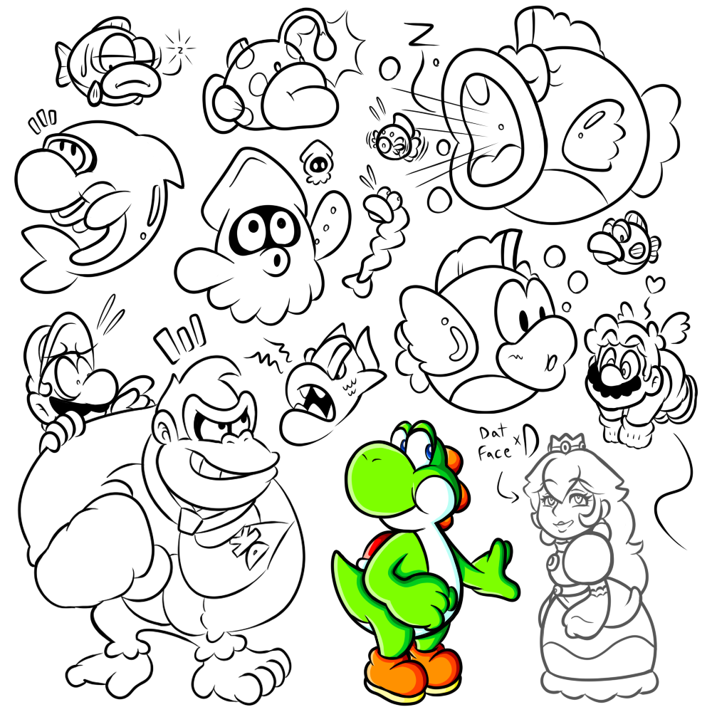SAI Doodles Late Night Mario Enemies 2 By