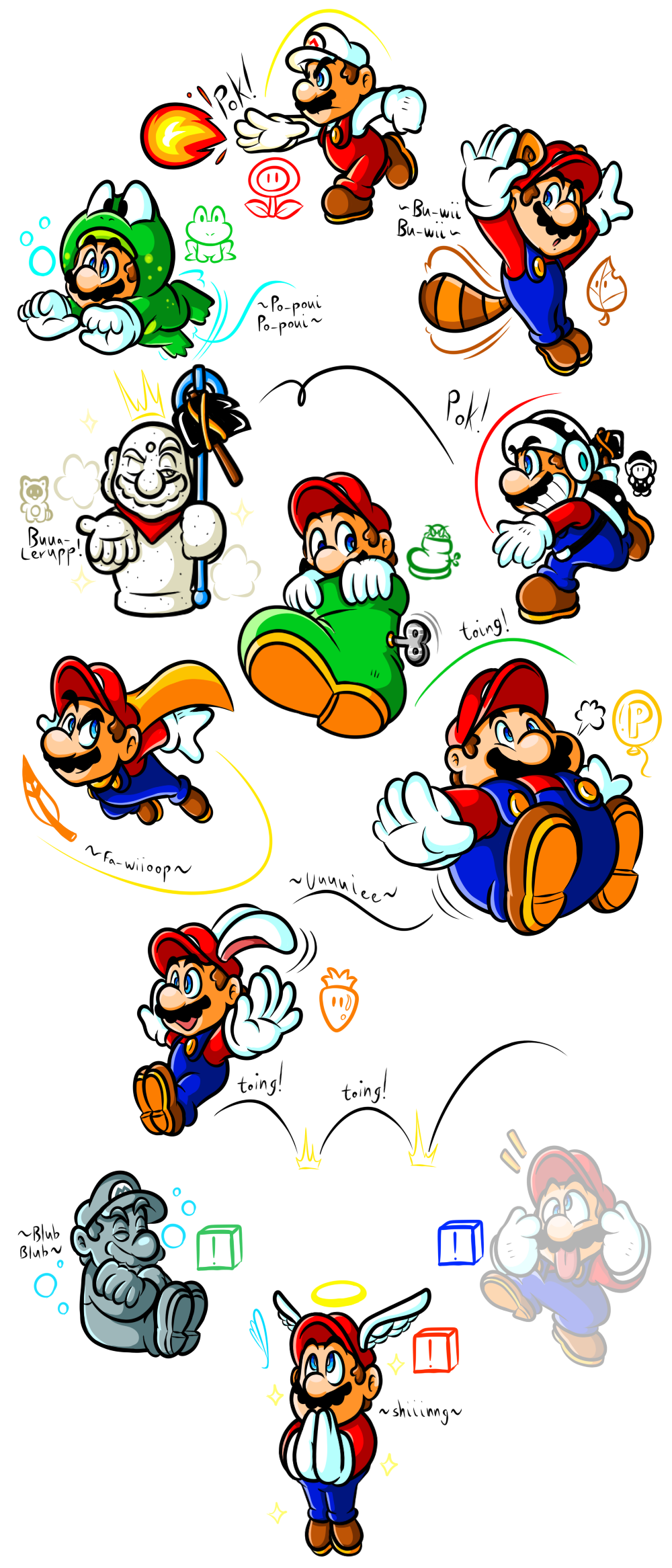 Mario's Gallery of Power-Ups (1985-1996) by JamesmanTheRegenold