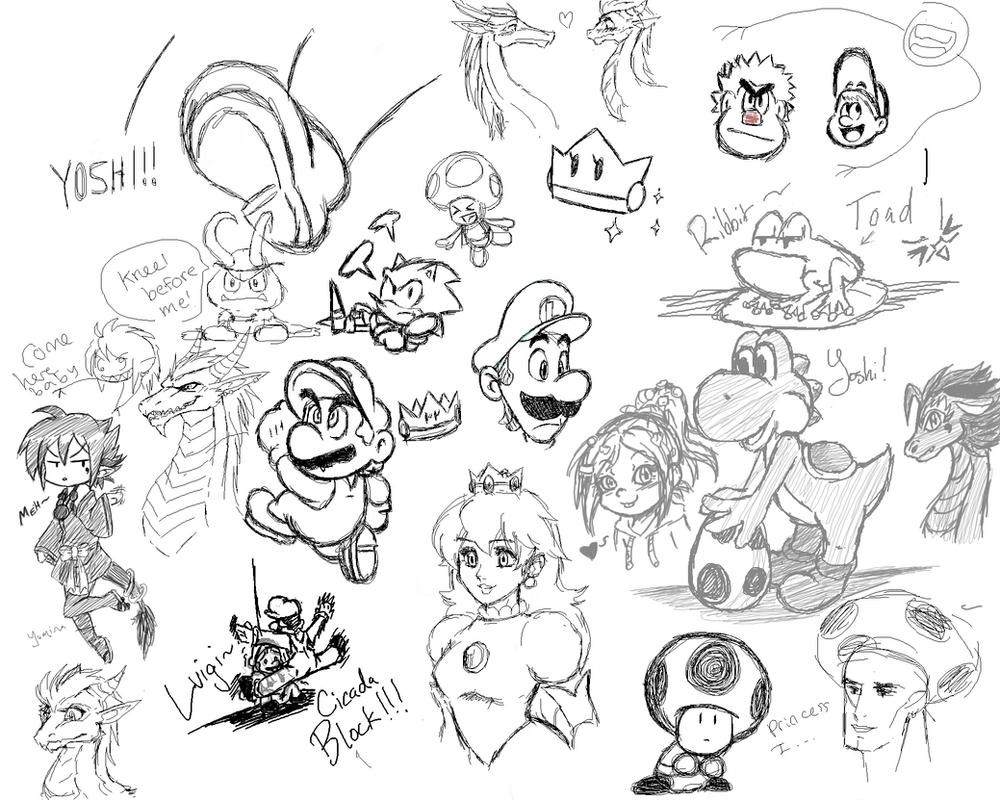 Tara, Gwee, LightDark and James' PChat Doodles by JamesmanTheRegenold