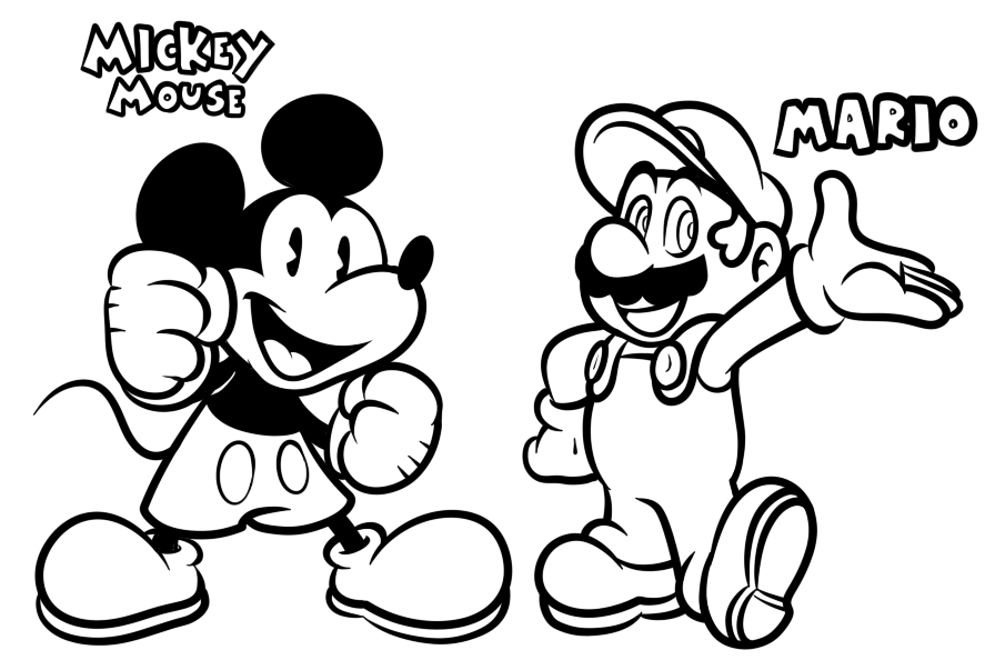 Line Art Mickey Mouse : Mario and mickey mouse lineart by jamesmantheregenold on