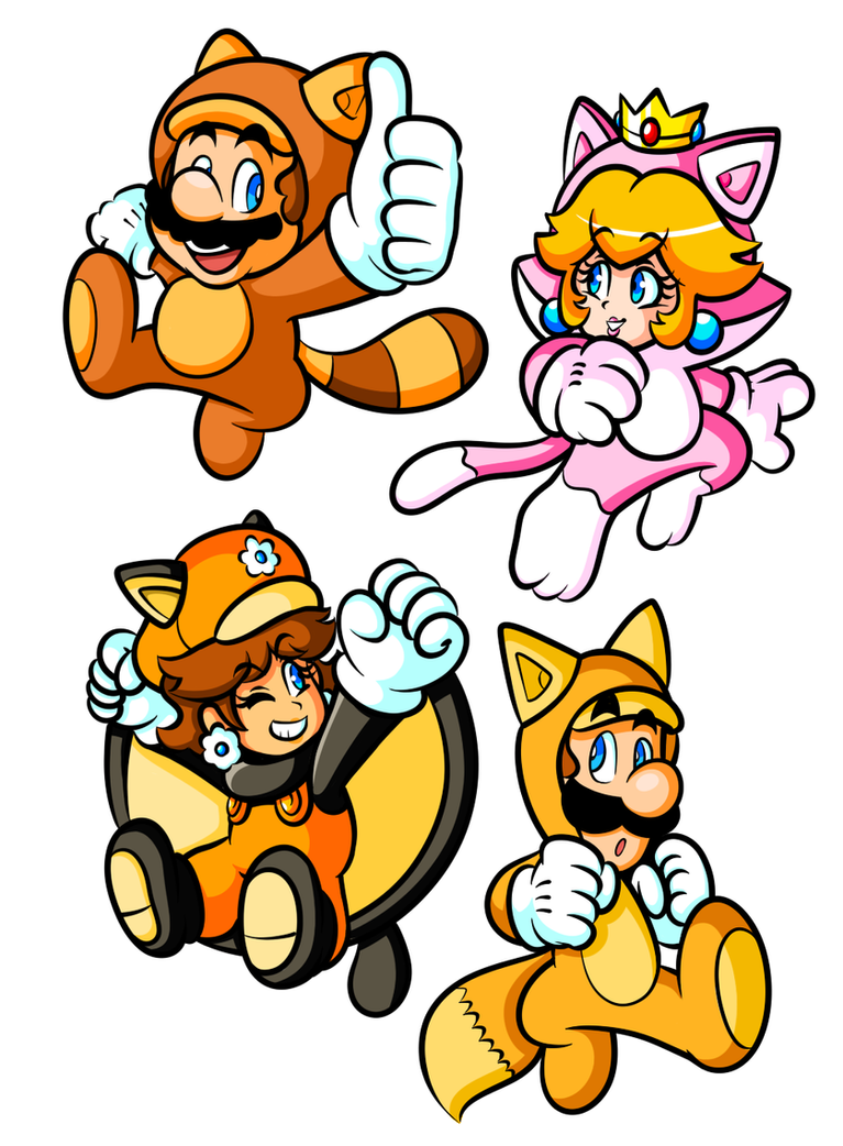 Commission - Powered-Up Mario & Friends by JamesmanTheRegenold