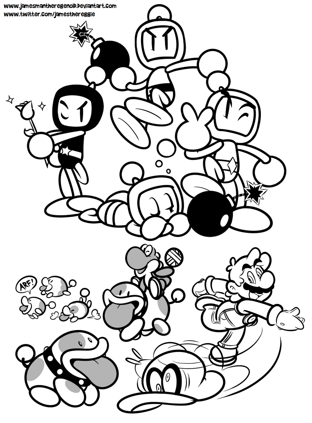 Bomberman coloring pages ~ Poochy and Bomberman's Odyssey by JamesmanTheRegenold on ...