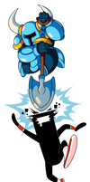 Indie Pogo Art: Shovel Knight vs CommanderVideo by JamesmanTheRegenold