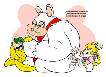 Rabbid Kong and Rabbid Peach (... and Luigi)