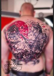 Samurai fullback tattoo by BoogyWoogy
