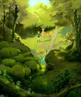 Ashitaka's journey by Moonshen