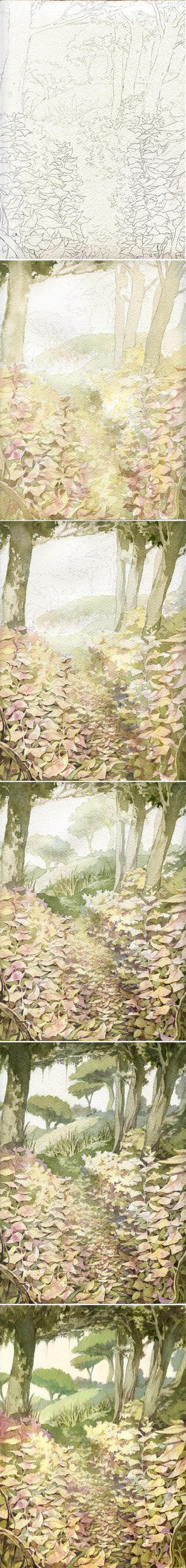 Tutorial de un watercolor landscape by Moonshen