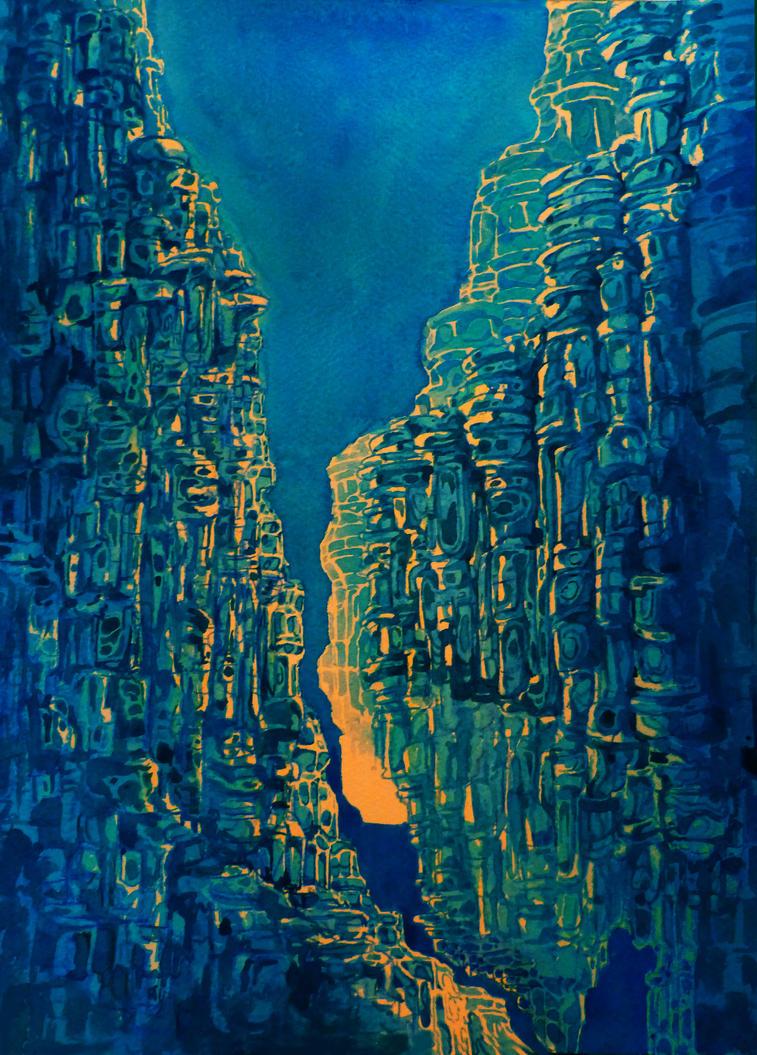 sapphire cliffs by Moonshen