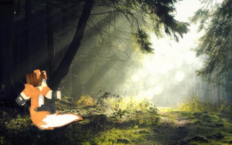 Minecraft wallpaper fox boy in the forest by xprettypinkprincessx