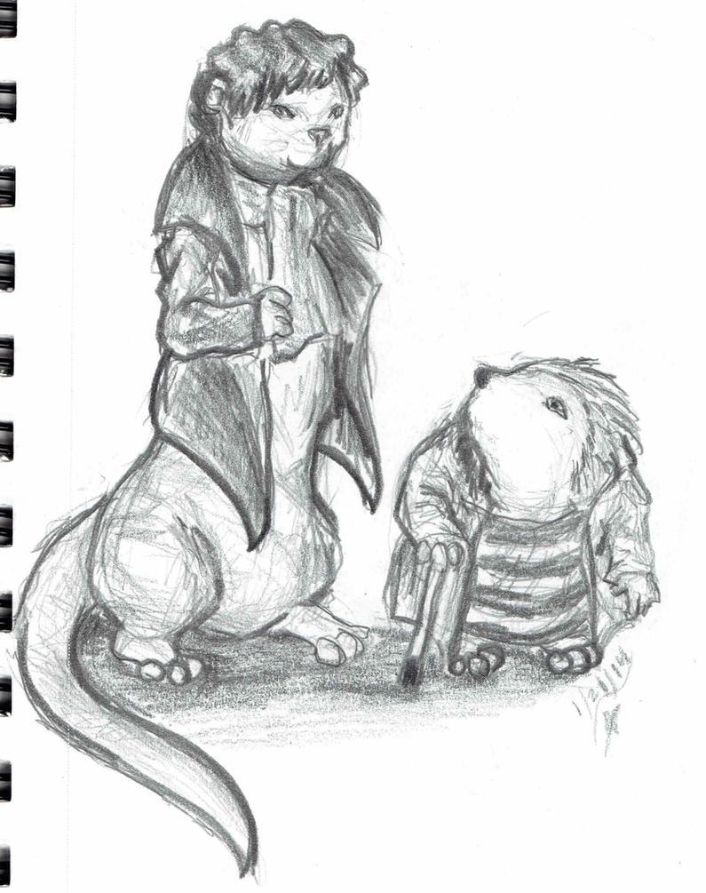 Otter Sherlock and John the Hedgehog by SnowBunny91