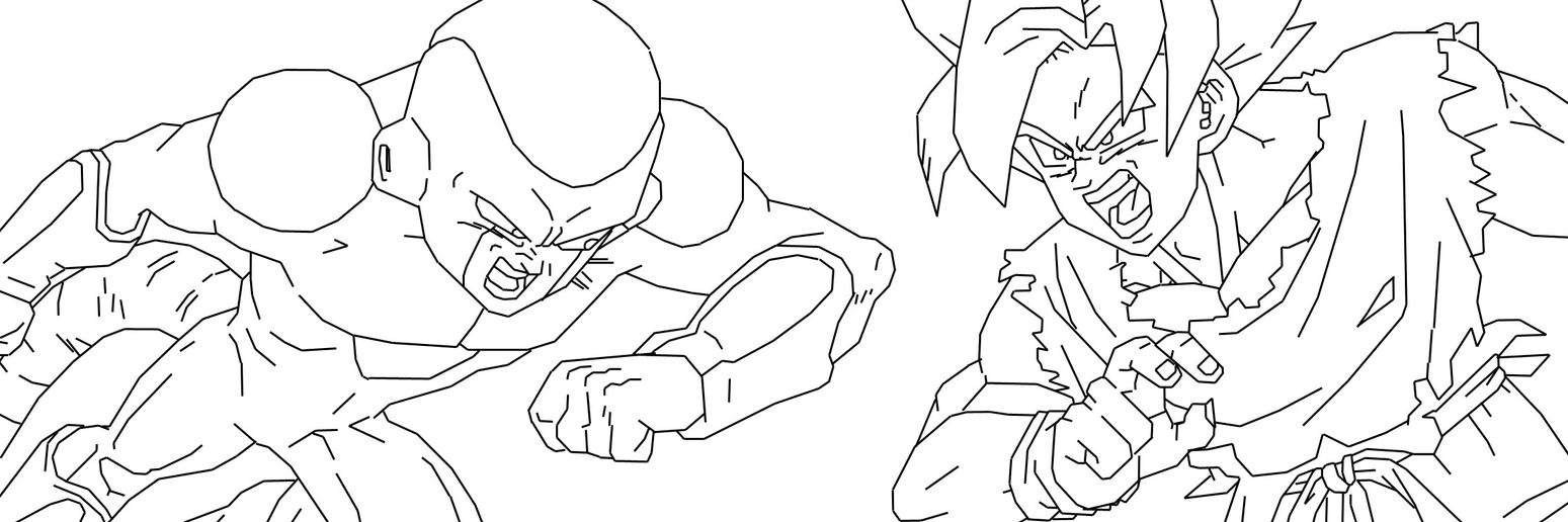Line Drawing Vs Mass Drawing : Frieza vs goku lines by neoluce on deviantart