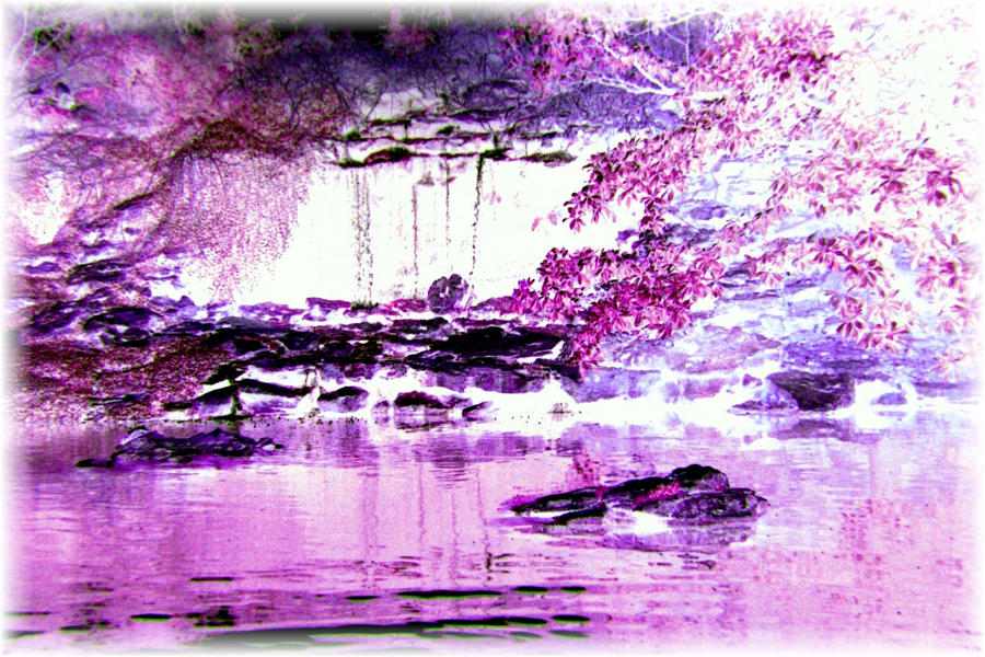 purple waterfall by sheppaja