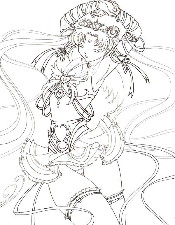 Line Art Vs Painting : Millennium senshi sailor moon by tsuzukikun on deviantart