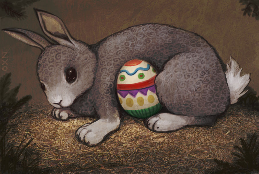 Easter bunny in the nest by Zxoqwikl