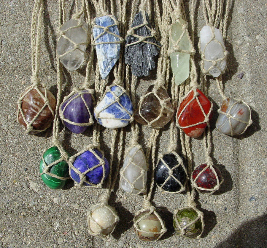 Hemp Wrapped Healing Crystal Gemstone Necklace by LWaite