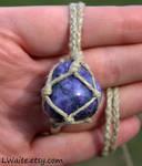 Dyed Purple Quartz Hemp Wrapped Necklace