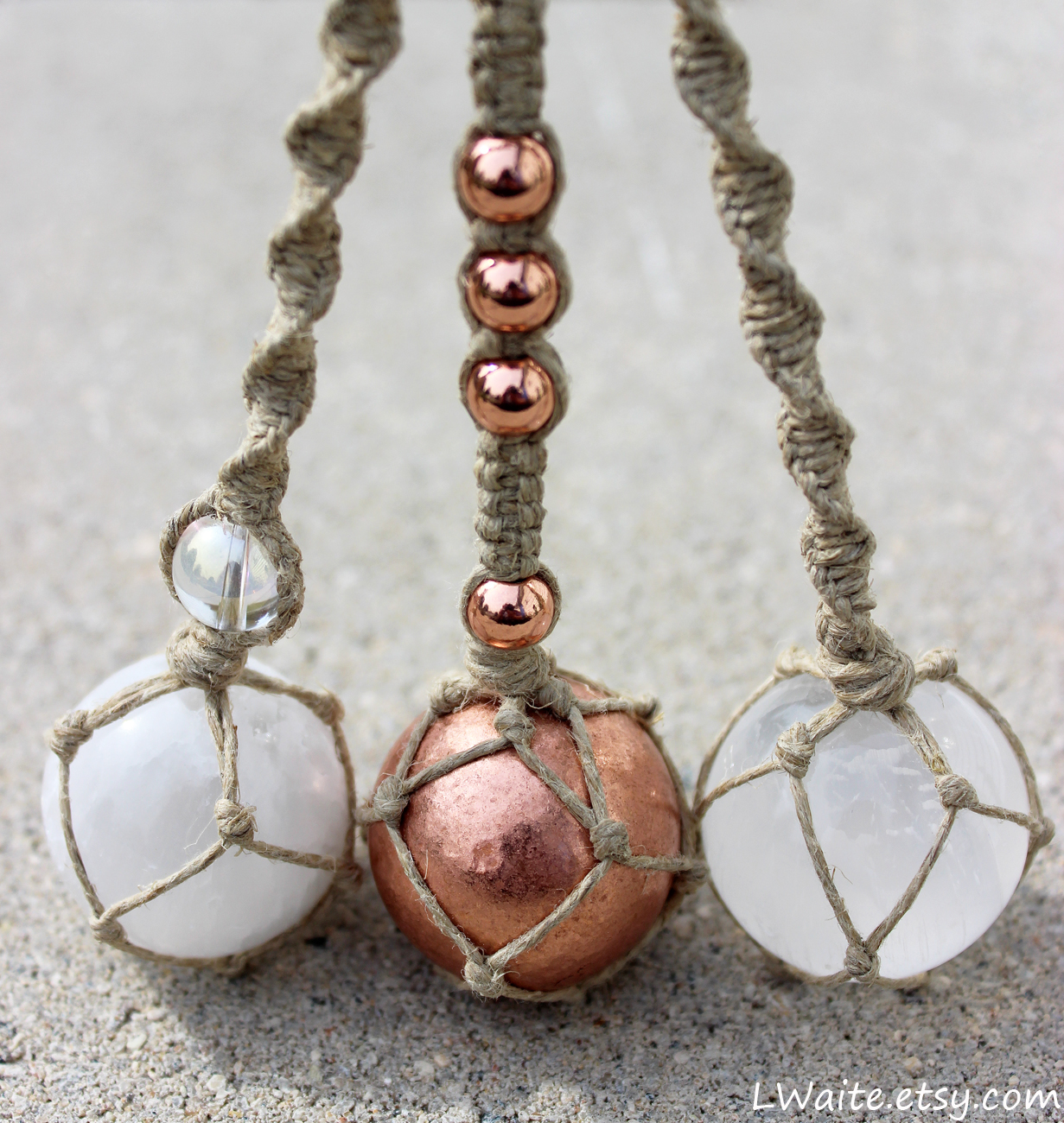 Selenite and Copper Rear View Mirror Charms by LWaite