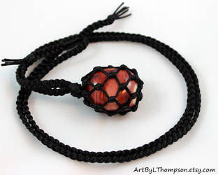 Mookaite Black Satin Cord Wrapped Necklace by ArtByLThompson