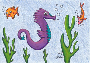 Seahorse ocean drawing by jengolem