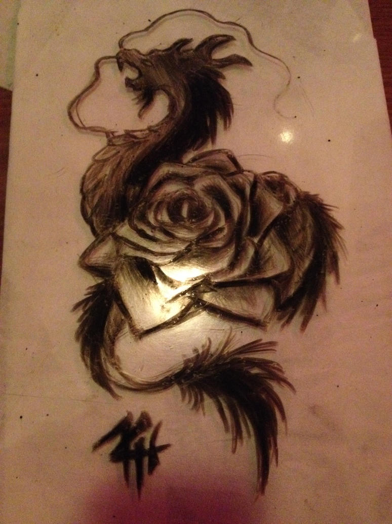 dragon rose tattoo by demon neko of hell on deviantart. Black Bedroom Furniture Sets. Home Design Ideas