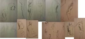 Quick pose workshop drawings.  1 - 5 min by FUNKYMONKEY1945