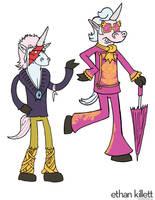 Bowie and Elton Unicorns by ekillett