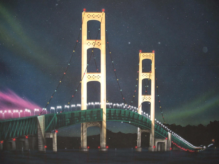 Mackinac Bridge mural by bobeatlock