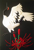 Japanese crane and Red spider lily